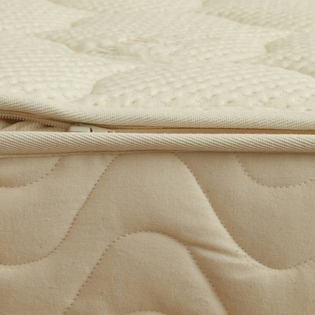 Organic cotton mattress cover unzipped