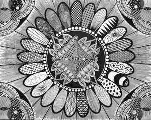 #1.  Zentangle/Mandala Hybrid Canvas