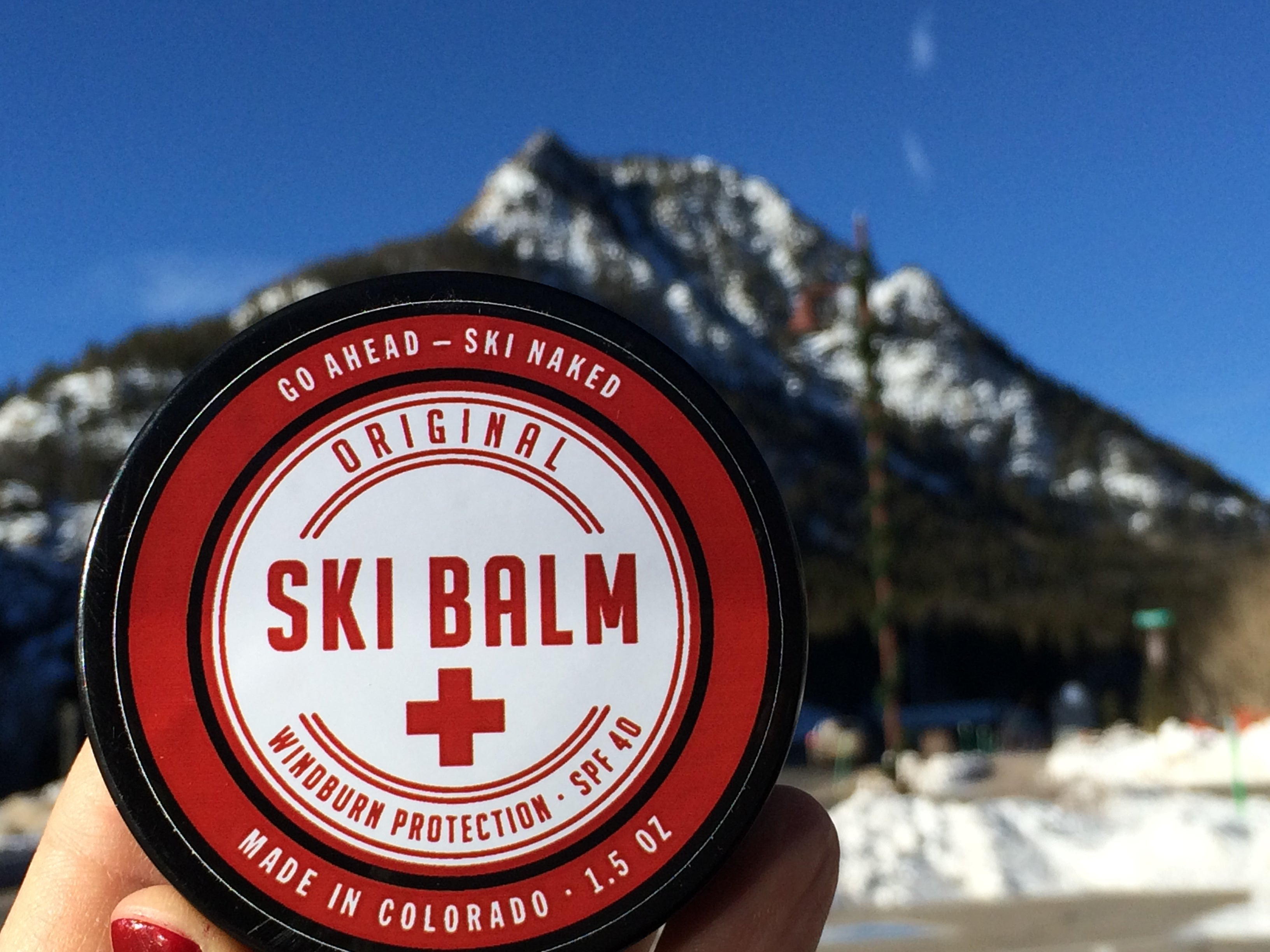 Ski Balm In Front Of Mountain