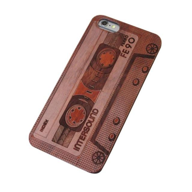 Fashion Skull Carved Wooden Case For iPhone 6 6s Retro Wood Cover For  iPhone 6 Shockproof Phone Cases Coque Shell