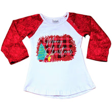 Load image into Gallery viewer, Red Lace Sleeved Merry Christmas Shirt