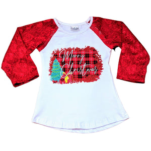 Red Lace Sleeved Merry Christmas Shirt