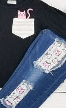 Load image into Gallery viewer, Valentine's Collection - Kitty In My Pocket Denim Outfit