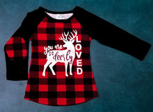 Load image into Gallery viewer, You Are Deerly Loved Buffalo Plaid Tee