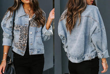 Load image into Gallery viewer, Cheetah Distressed denim jacket