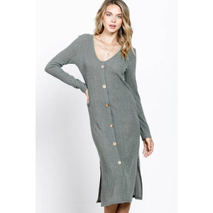 Rib buttoned down side slitted midi knit dress