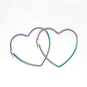 Oil Slick Heart Earrings