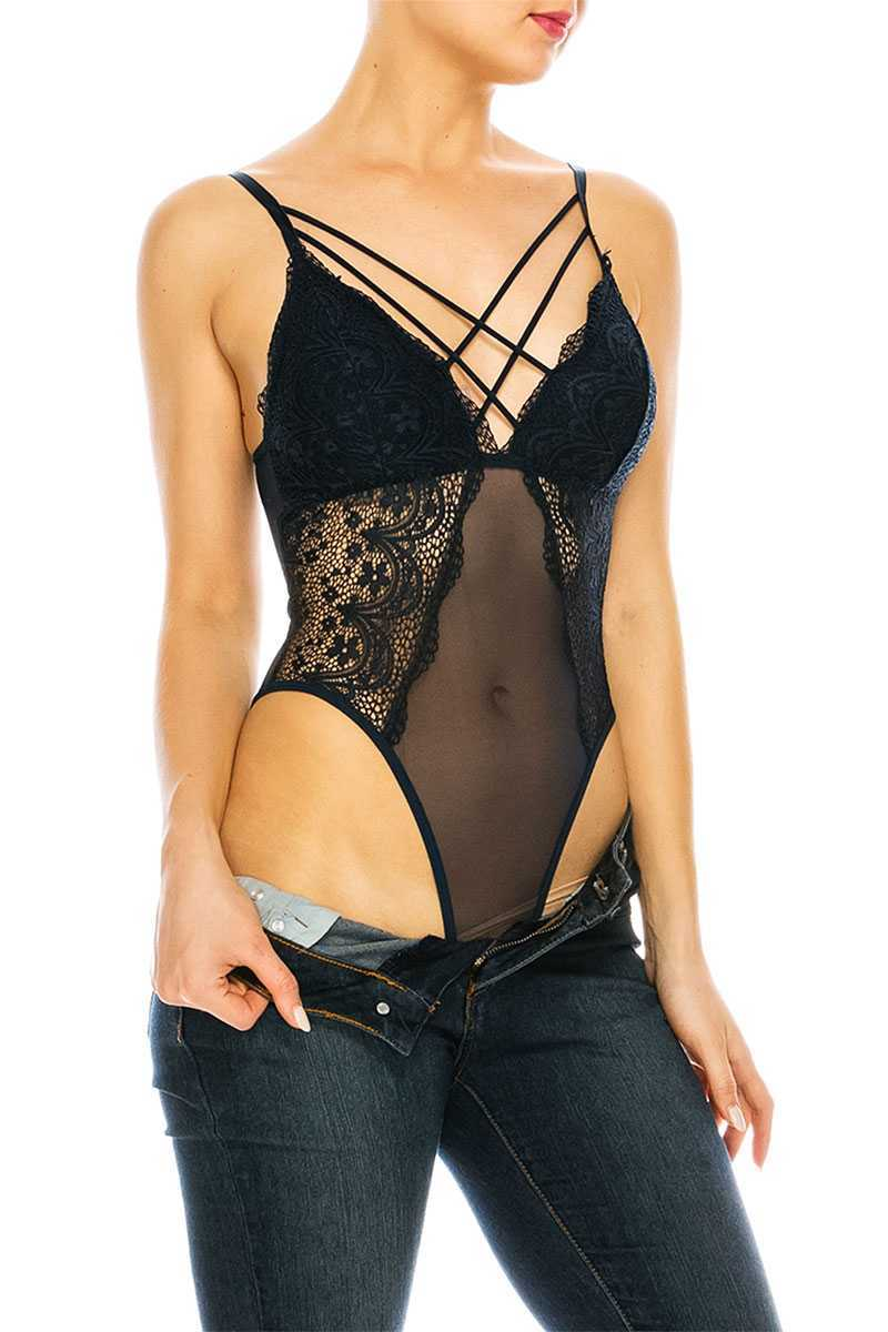 Mesh Lace Bodysuit with Snap button closure