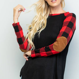Patch elbow plaid top