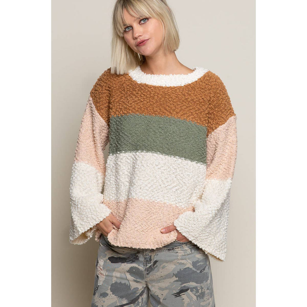 Autumn color striped cozy sweater