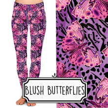 Load image into Gallery viewer, Yoga Style Leggings - Blush Butterflies by Eleven & Co.