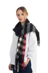 Soft checker plaid oblong scarf