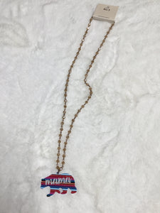Mama Bear Beaded Long Necklace