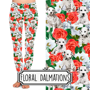 Yoga Style Leggings - Floral Dalmatians by Eleven & Co.