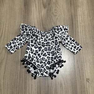 Ruffles 'n Poms Romper: White/Gray Animal Print