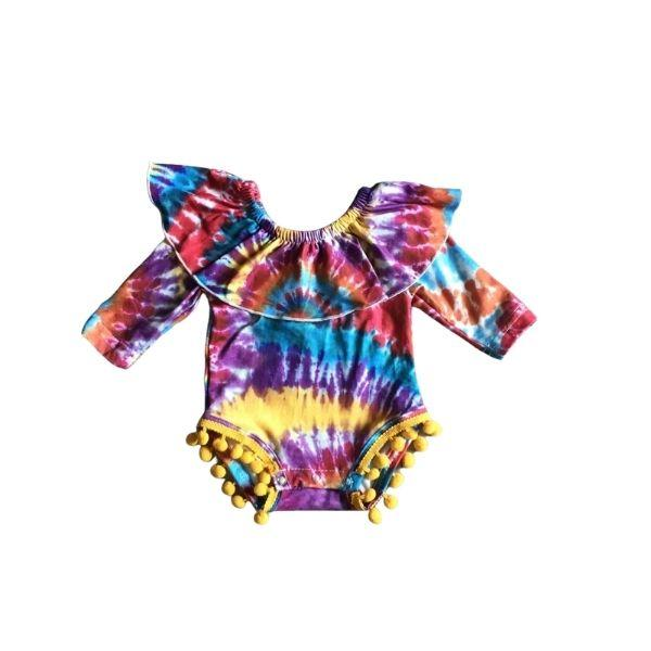 Sunset Colors Tie-Dye Pom Romper