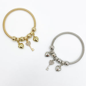 Key and Heart Charm Bracelet