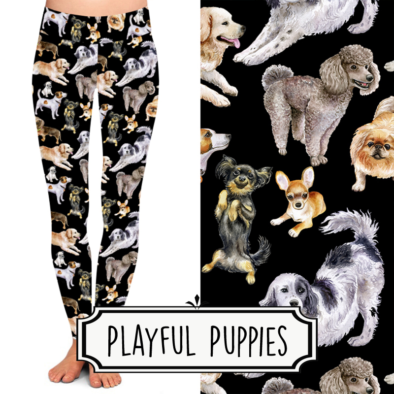 Yoga Style Leggings - Playful Puppies by Eleven & Co.