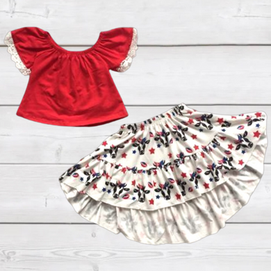 Red Lace Trim Top with Cow Hi-Lo Skirt