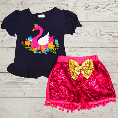 Swan Sequin Shorts Outfit