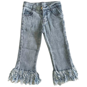 Premium Denim - Light Wash Blue - Frayed