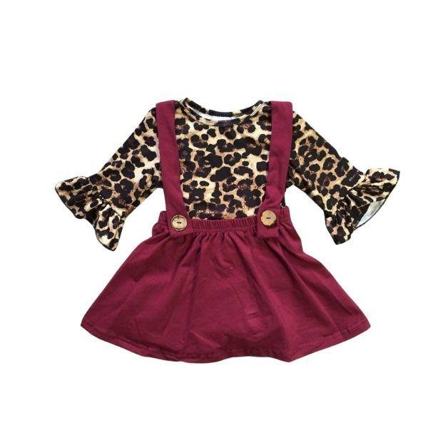 Burgundy and Leopard Jumper