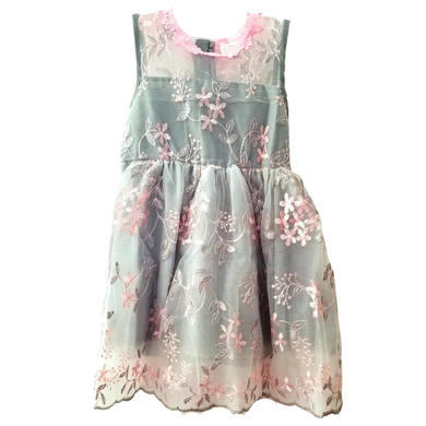 Gray and Pink Lace Floral Fancy Dress