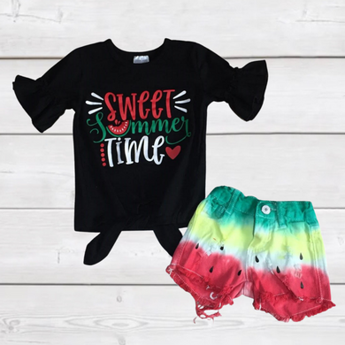 Sweet Summertime Watermelon Shorts Outfit