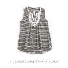 Load image into Gallery viewer, A Delicate Lace Tank in Black