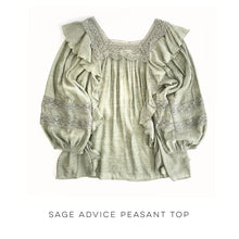 Load image into Gallery viewer, Sage Advice Peasant Top