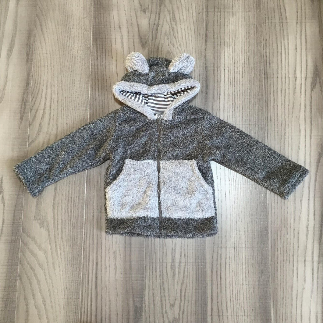 Full Zip Teddy Bear Sherpa Hoodie Sweater: Gray