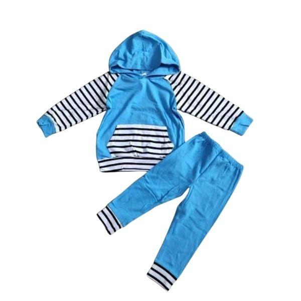 Blue Striped Hoodie Loungewear Set