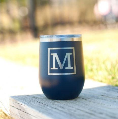 12oz Personalized Tumbler Classic Single Initial
