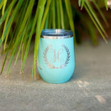 12oz Personalized Tumbler Wreath Single Initial