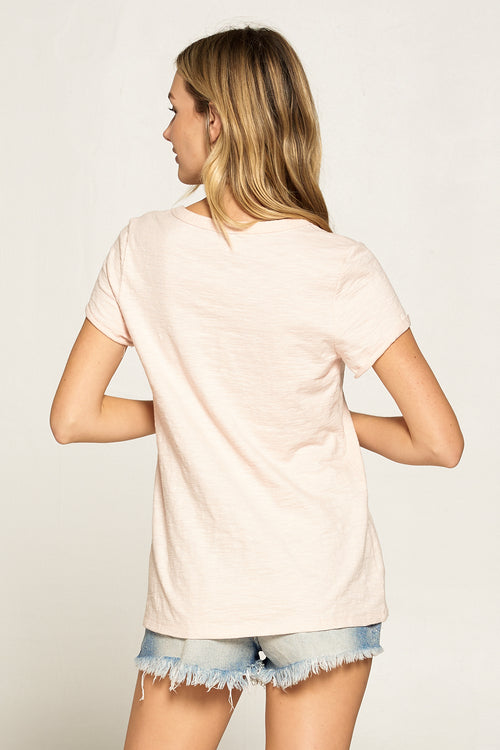 SCOOP NECK ROLL UP SLEEVE TEE WITH POCKET 2 COLORS
