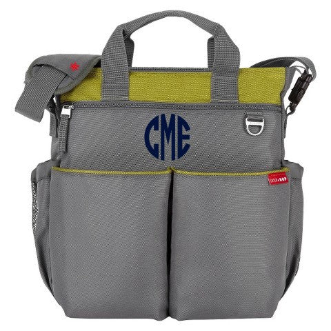 Monogrammed Diaper Bags Skip Hop Charcoal Lime Comes with 1 Free Burp Cloth