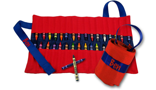 Personalized Red and Blue Crayon Keeper