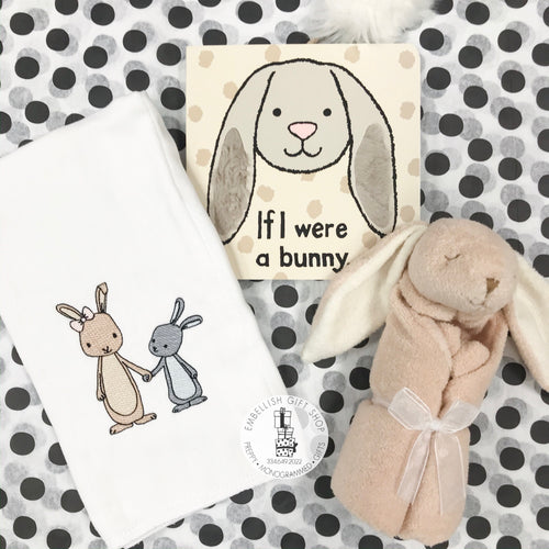 Beige Bunny Personalized Baby Lovie Security Blankie, Burp Cloth and Book Gift Set