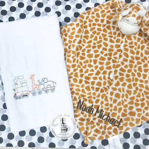 Tan Giraffe Personalized Baby Lovie Blankie Gift Set
