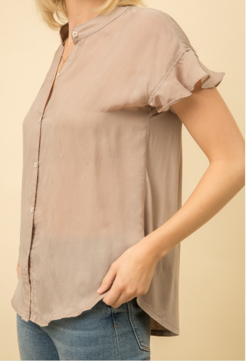 THIS IS WHY TAUPE BROWN RUFFLE CAP SLEEVE FASHION TOP