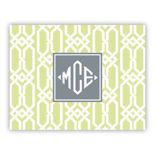 Personalized Folded Note Cards Arden Spring Green