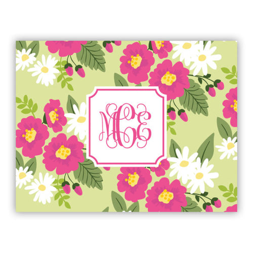 Personalized Folded Note Cards Lillian Floral Bright