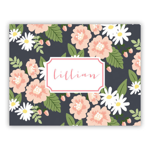 Personalized Folded Note Cards Lillian Floral