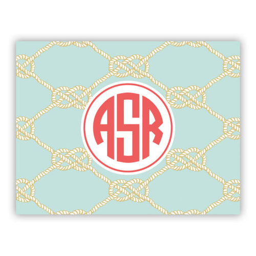 Personalized Folded Note Cards Nautical Knot Sea