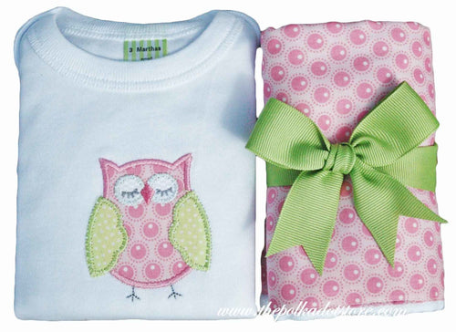 Pink Owl Onesie & Burp Box Set