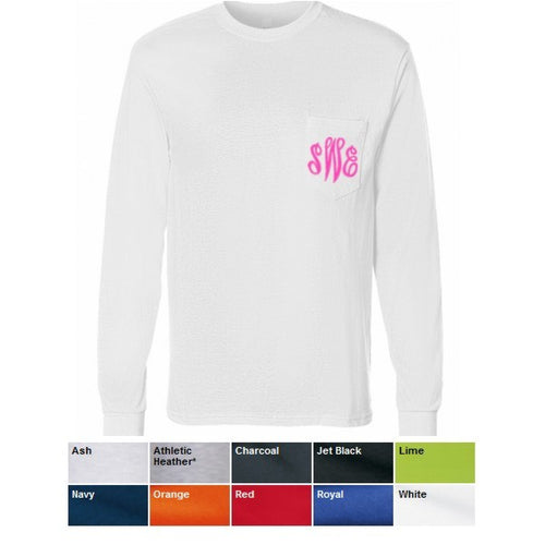 Monogrammed Long Sleeve Pocket T-Shirt