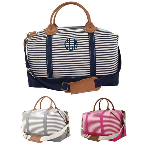 Personalized Canvas Striped Weekender Choose Colors