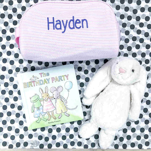 "12"" Inch Bunny With Book and Toiletry Bag"