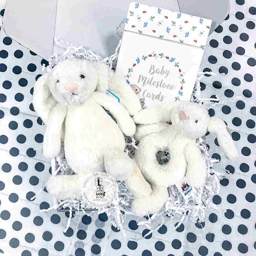 7 Inch Bunny Rattle Milestone Cards Gift Set
