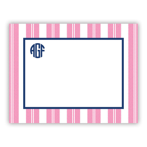 Personalized Flat Note Cards Vineyard Stripe Pink